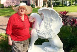 Ardith Rutland with the Griffin Statue in 'Pete's Park'