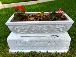 refurbished planter with flowers on snell isle